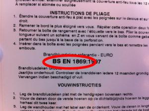 Blusdeken detail achterkant verpakking BSEN 1869
