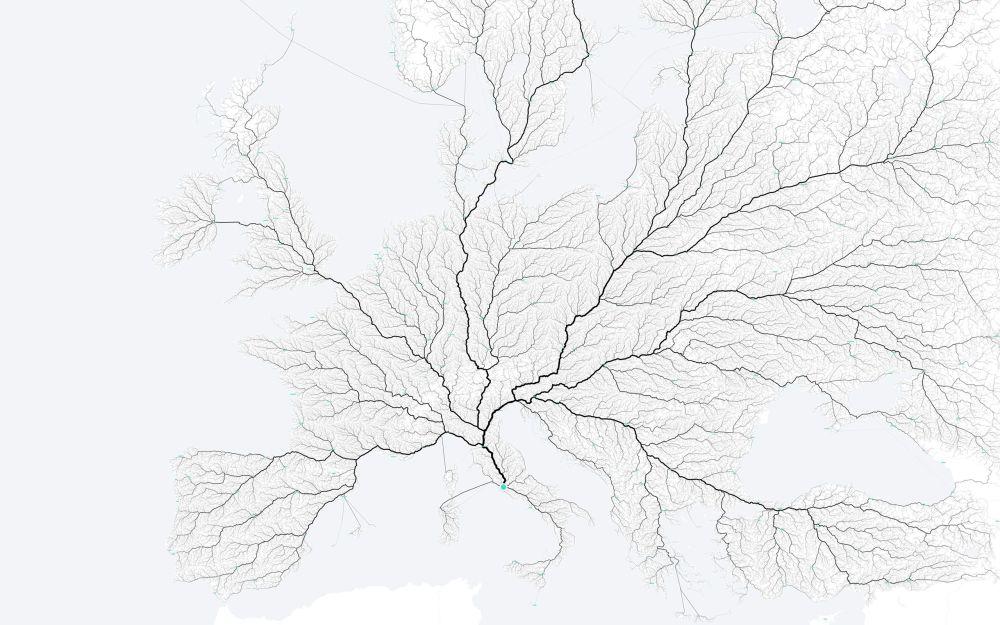 Kaart Europa (wegen naar Rome)